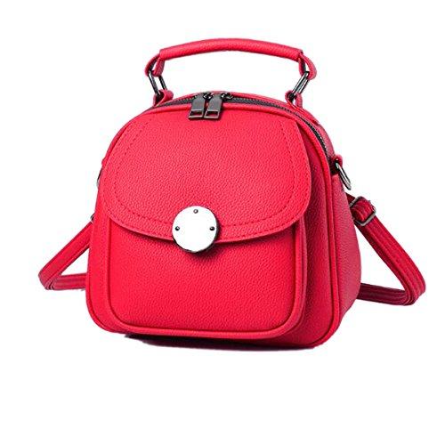 Mujer Nueva Mochila PU estilo Escolar Bolsos De Hombro Bolsos Mochilas Escolares Moda Bolso Red