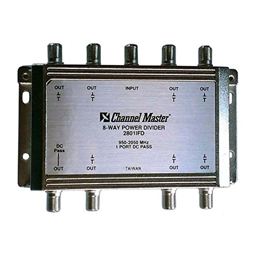 8-Way Splitter 2 GHz Power Divider 950 - 2050 MHz 1 Port DC Passive Splitter 1 Input 8 Output Satellite High Frequency UHF / VHF Video Signal TV Antenna Coax Cable ()