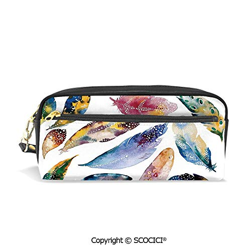 Students PU Pencil Case Pouch Women Purse Wallet Bag Oriental Asian Tribal Feather Set Symbol of Magic and Balance Harmony Print Waterproof Large Capacity Hand Mini Cosmetic Makeup Bag