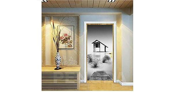 Pegatinas De Puerta Mural 3D DIY Autoadhesivo Chalet Hierba Calcomanías Paso Cartel De Papel Impermeable para Imprimir Imagen De Arte Decoración del Hogar 77X200 Cm: Amazon.es: Hogar