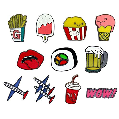 WINZIK Lapel Pins Set Novelty Cute Cartoon Brooch Badges for Children Adults Clothes Backpacks Decor (Sushi Popcorn Beer Aircraft Pins Set of 11)