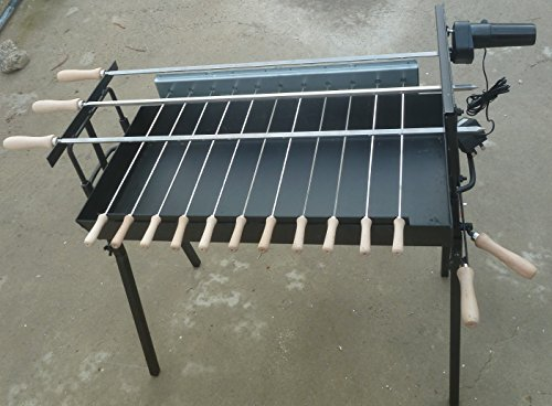 Cyprus FOUKOU LARGE BBQ Barbecue Charcoal Grill Rotisserie WITH 3 LARGE SKEWERS SAME LEVEL & MOTOR ,NEW DESIGN,New by Cyprus Manufacture
