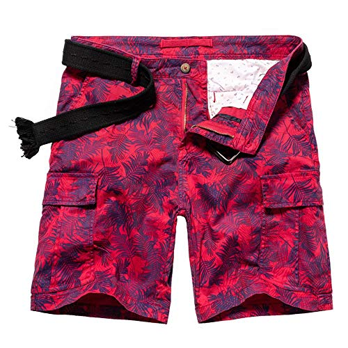 Red Camo Shorts - AKAMRY Must Way Men's Multi Pocket Loose Fit Cotton Twill Cargo Shorts DK2465 Red 38