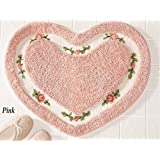 Pretty Pink Floral Rose Heart Shape Bath Accent Rug Floor Mat Decor by heartybay