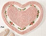 Floral Rug Pretty Pink Floral Rose Heart Shape Bath Accent Rug Floor Mat Decor by heartybay