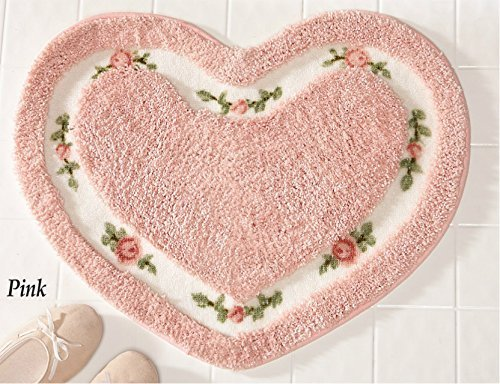 Pretty Pink Floral Rose Heart Shape Bath Accent Rug Floor Mat Decor by ()