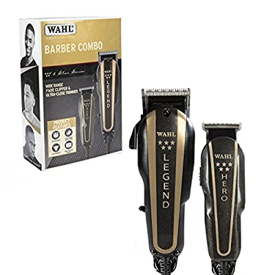 Wahl Professional 5-Star Barber Combo #8180 - Features a New Look 5-Star Legend Clipper and Hero T-Blade Trimmer - Powerful v9000 Motor Clipper and Rotary Motor Barber Trimmer.