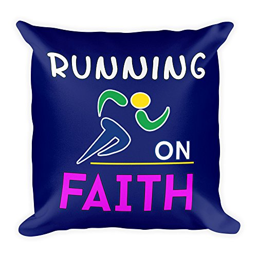 Running on Faith Pillow - Religious Gift Idea for Runner by Best Trendy Choices