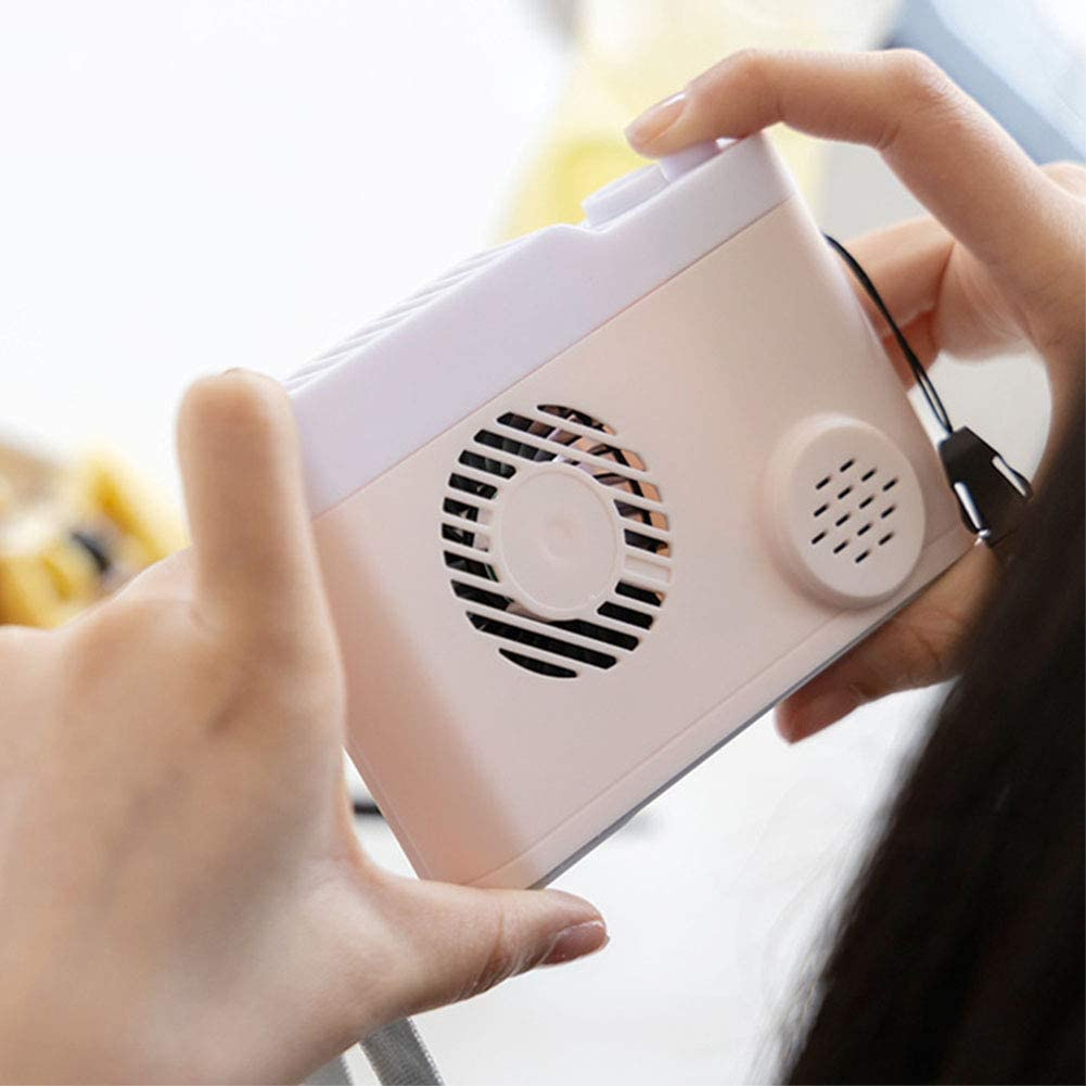 RONSHIN Fans Portable Fans Portable Tabletop Battery Operated Mini Camera Shape USB Rechargeable Hanging Fan Black 126mm86mm40mm