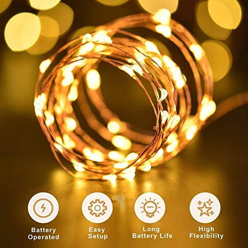 LED Lichterkette x 2 Batteriebetrieben 120er LED 12M mit Fernbedienung Wasserdichte Dekorative 8 Modi Warme Weiße Lichter für Weihnachts Schlafzimmer Garten Terrasse Party Hochzeit (LED Lichterketten)