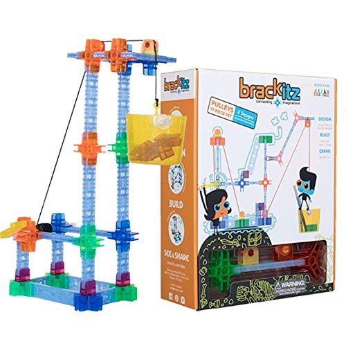 Brackitz Pulley Set for Kids | Building Toy for Boys and Girls Ages 5, 6, 7 and 8 Years Old | STEM Discovery Learning Kit | Best Children Educational Construction Toys | 77 Pc Set