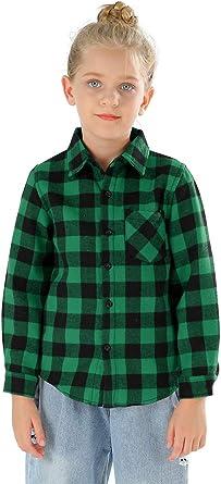 Aeslech Camisa de tela escocesa con forro polar, manga larga ...