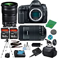 Canon EOS 5D Mark IV Camera with 24-105mm IS STM Lens + 55-250mm STM + 2pcs 16GB Memory Card + Camera Case + Card Reader + Tripod + 6pc Starter Set - International Version