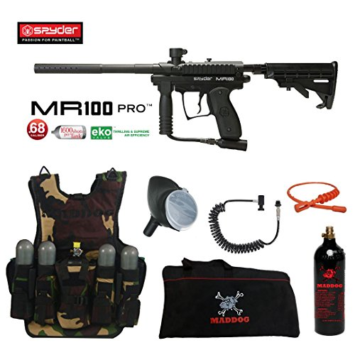 (MAddog Spyder MR100 Pro Lieutenant Tactical Camo Vest Paintball Gun Package - Black)