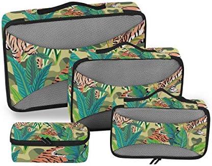 熱帯の虎荷物パッキングキューブオーガナイザートイレタリーランドリーストレージバッグポーチパックキューブ4さまざまなサイズセットトラベルキッズレディースの絵画