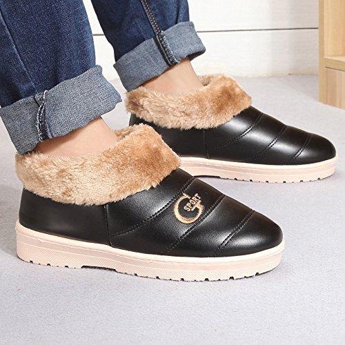 Fankou Tomaia in pelle pantofole di cotone spessa femmina impermeabili invernali per gli uomini e per le donne con il pacchetto pin seguito dal caldo ,39, nero