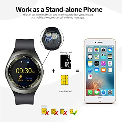Bluetooth Smart Watch with Touch Screen Unlocked Cell Phone Watch with SIM Card Slot Waterproof Smartwatch for Android phones for Men Women Kids Boys Girls