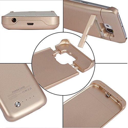 S6 edge Battery case NOVPEAK US manufacturer's warranty 4200mAh mobile or portable Rechargeable smallish External Battery Backup Charger case energy Bank case made in Kickstand for Samsung Galaxy S6 edge G9250 Gold Battery Charger Cases