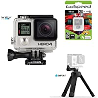 GoPro HERO4 BLACK 12MP Full HD 4K 30fps 1080p 120fps Built-In Wi-Fi Waterproof Wearable Camera Adventure 16GB Edition with GoPole Base Bi-Directional Compact Tripod