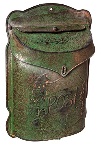 Mailbox Wall Mount Design (Red Co. Aged Green Vintage Inspired Shabby Chic Large Metal Post Mail Box, Wall Mounted Design, 11 x 15 Inches)