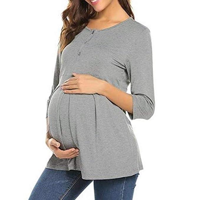 información para b5e12 7e52c Mujeres Ropa De Maternidad Embarazo O Cuello Retro Tres ...
