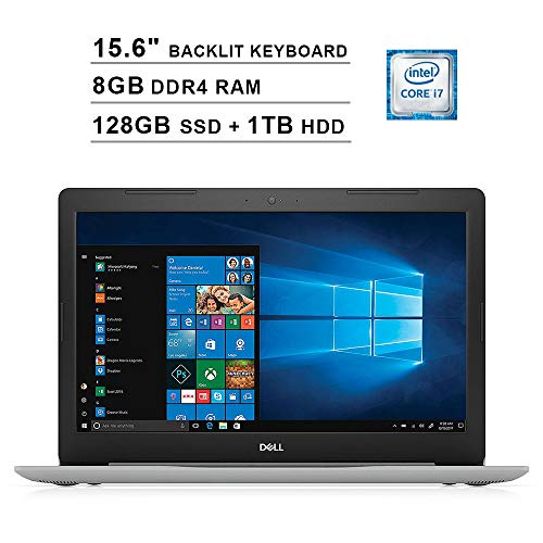 2019 Dell Inspiron 15 5570 15.6 Inch FHD Touchscreen Laptop (Intel Quad-Core i7-8550U?up to 4.0 GHz, 8GB RAM, 128GB SSD + 1TBHDD, Backlit KB, DVD, Bluetooth, WiFi, HDMI, Windows 10, Sliver) (Renewed) (Best Computers Of 2019)
