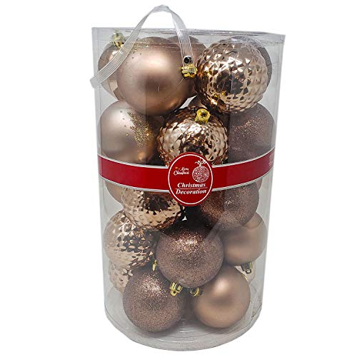 - Christmas Festive Holiday Season Colorful Sparkling Shiny Ball Ornaments Set of 25pcs Mixed Gold, 8CM for Home, Office Xmas Decoration, Holiday, Party-Shatterproof,Thanksgiving,Gifts (25)