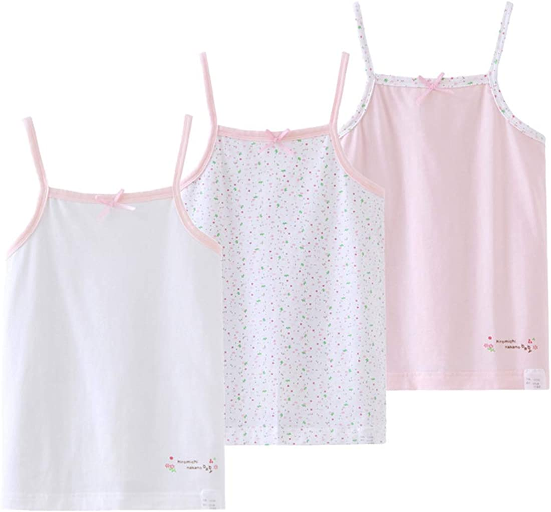 Bouclede Girls Lovely Camisole 3-Pack Cotton Undershirt 2-12T