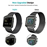 Fitbit Blaze Band with New Metal Frame Hagibis Milanese Loop Stainless Steel Bracelet Strap Magnet Lock Band for Fitbit Blaze Smart Watch-Small Large Black Sliver Rose Gold (Black, Large)