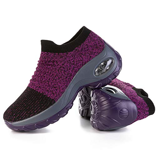 JOINFREE Womens Durable Work Shoes Anti-Skid Walking Shoes Slip-on Kint Sneakers Casual Shoes Purple 8.5 M US ()