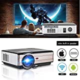WiFi Wireless Video Projector, Android Projector LCD LED 3500 Lumen Outdoor Indoor Basement Home Theater Movie, Support Full HD 1080P Airplay Apps HDMI USB TV Speaker Multimedia Beamer