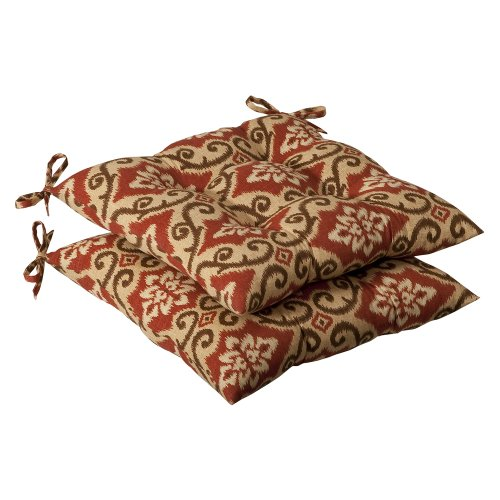 Pillow Perfect Indoor/Outdoor Red/Tan Damask Tufted Seat Cus