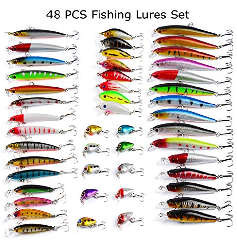 (Juemenzhe 48pcs Fishing Lures Kit Mixed Including Minnow CrankBait with Hooks for Saltwater Freshwater Trout Bass Salmon Fishing )