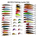 48pcs Fishing Lures Kit Mixed Including Minnow CrankBait with Hooks for Saltwater Freshwater Trout Bass Salmon Fishing