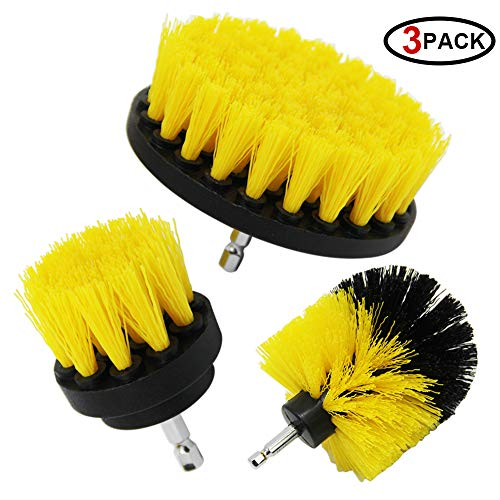 SAND MINE Drill Brush Attachment Kit, Bathroom Surfaces Shower, Tub, and Tile Power Scrubber Brush Cleaning Kit (Yellow)