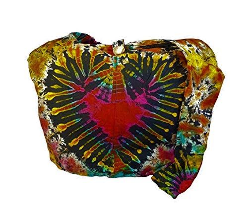Handmade Ladies Tie Dye - BTP! Tie Dye Sling Crossbody Shoulder Bag Purse Hippie Hobo Cotton Bohemian Colorful Firework (Red Heart VZ9)