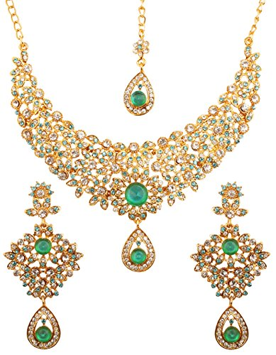 Touchstone Hollywood Glamour White Faux Blue Quartz Colorful Grand Designer Wedding Jewelry Hasli Necklace Set For Women In Antique Gold ()