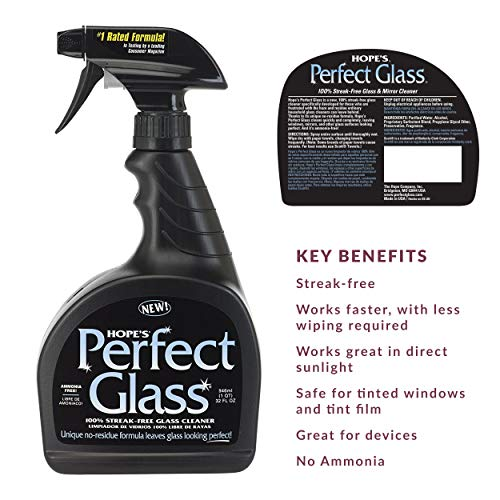 HOPE'S Perfect Glass Cleaner, Multi-Color, 32 Fl Oz
