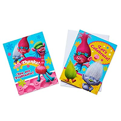 American Greetings Trolls Invite and Thank-You Combo Pack, 8-Count: Toys & Games
