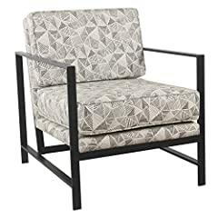 The Hudson collection is an eye-catching fusion of soft and sleek. The modern accent chairs modern lines geometric print is a striking contrast to its sleek modular black metal chair frame. Place two in in your living room for an evening of c...