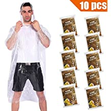 COOY Rain Ponchos,with Drawstring Hood (10 Pack) Emergency Disposable Rain Ponchos Family Pack for Adults,Fit Men and Women, Perfect for Disneyland,Clear