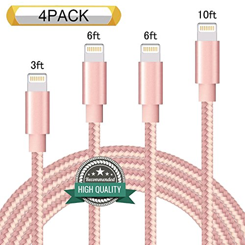 Youer Lightning Cable 4Pack 3FT 6FT 6FT 10FT Nylon Braided Certified iPhone Cable USB Cord Charging Charger for Apple iPhone 8, X, 7, 7 Plus, 6, 6s, 6+, 5, 5c, 5s, SE, iPad, iPod Nano, Touch (2 Gen Nano)