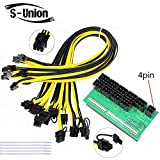 S-Union Ethereum ETH ZEC Mining Power Supply 12V GPU/PSU Breakout Board + 9pcs 16AWG PCI-E 6Pin to 6+2Pin Cables (27.5Inch), Power Adapter Board for HP 1200w/750w GPU (with 5 NylonTies)