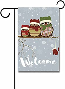 KafePross Merry Christmas a Branch with Family of Owls in Winter Garden Flag 12.5