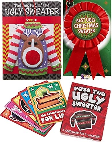 HAPPY DEALS ~ Ugly Sweater Party Prize Pack - Includes Ugly Sweater Ornament, Card Game and Award Ribbon