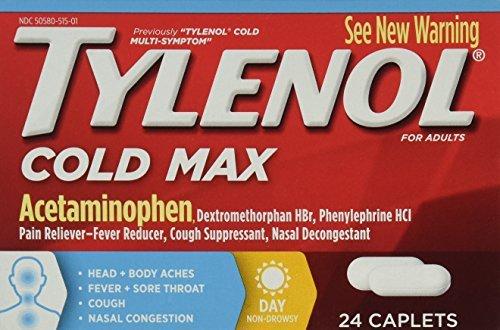 Tylenol Cold Multi-Symptom Caplets Daytime, 24 Caps (Pack of 4)