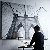 Large Picture with Frame Canvas 55 x 79 Inches Extra Large Wall Photo Art (Black and White Brooklyn)