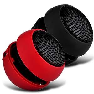 Wiko DarkSide 2 Color Embalaje Mini Cápsula Viajes recargable Loud 3.5mm Altavoz Bass Jack a jack de entrada (Negro y Rojo) Por Spyrox