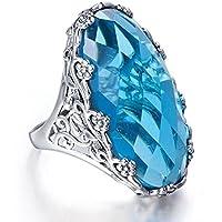 Huge 7.2ct Sky Blue Topaz Women 925 Silver Beauty Jewelry Wedding Ring (8)