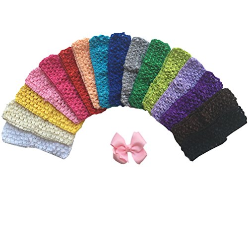 Arlai Baby Stretch Headbands DIY (16pcs Crochet Headbands+1pcs Hair Bows)